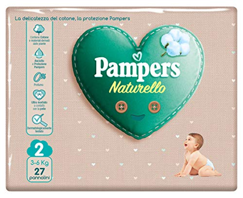 Pampers Naturello, 27 Pannolini Contenenti Cotone e Materiali Naturali Derivanti dalle Piante, 0% Profumo, Taglia 2 (3-6 Kg)