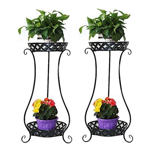 2Packs Metal Potted Plant Stand, Rustproof Decorative Flower Pot Rack with Indoor Outdoor Iron Art Planter Holders Garden Steel Pots,Black