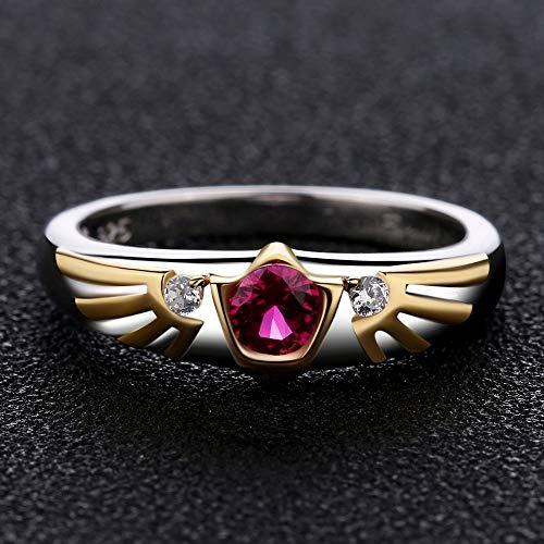 IWINO Robijn 925 sterling zilveren verlovingsring voor Valentijnsdag
