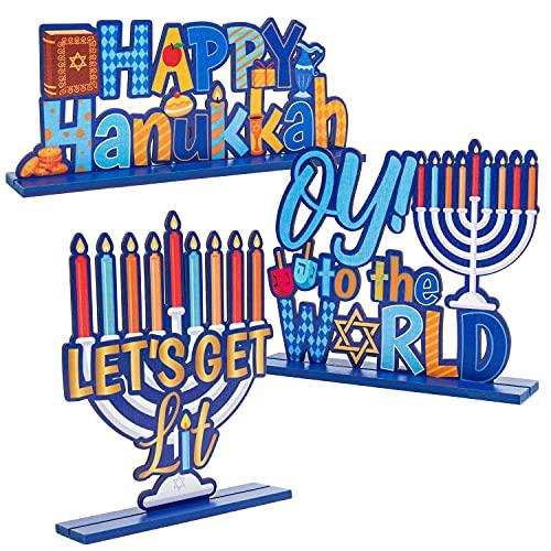 MALLMALL6 3Pcs Hanukkah Wood Table Decoration Centerpiece Happy Hanukkah Let's Get Lit Oy to The World Menorah Dreidel Wooden Design Decor for Chanukkah Traditional Festival Party Celebration Supplies