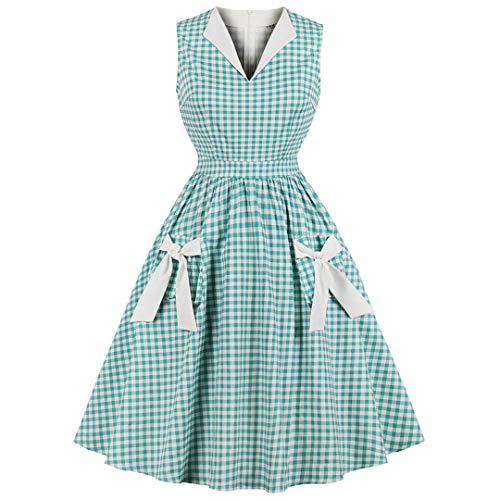 JCNHXD Vestido Midi Vintage a Cuadros Verde de Mujer Vestidos de Fiesta Plisados con Hombros...
