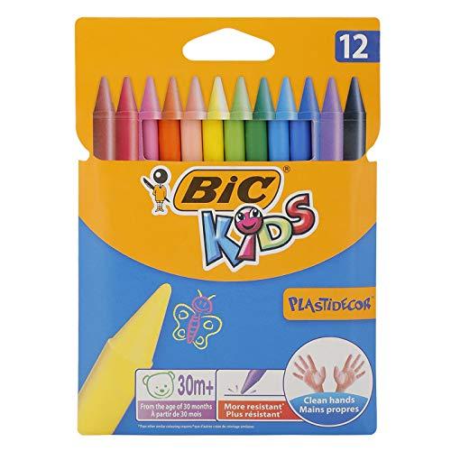 BIC Kids Pastelli Colorati, Plastidecor, Colori Assortiti, Confezione da 12 Pastelli, Colori per Bambini a Casa e a Scuola
