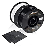 OVERTURE PETG Filament 1.75mm with 3D Build Surface 200 x 200 mm 3D Printer Consumables, 1kg Spool (2.2lbs), Dimensional Accuracy +/- 0.05 mm, Fit Most FDM Printer (Black + White)