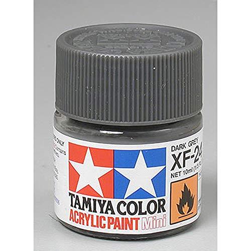 Tamiya 81724 - Pintura Acrílica Mini, Mate Gris Oscuro Frasco de 10 ml, XF-24