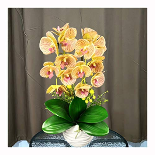 Kunstmatige Orchid Potplant Fake Flowers Regelingen Real Touch PU Faux Phaleanopsis Takken met Keramiek Pot Tabel centerpieces Decor (Color : D)