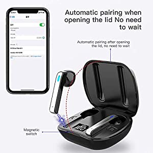 Wireless Earbuds, Bluetooth Headset with Microphone and Touch Control -LED Display Charging Case, IPX5 Waterproof in-Ear Headset 36H Playtime, 3D Stereo Sound Earphones, Compatible Android/Samsung