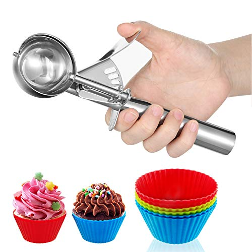 CHEE MONG Cuchara de Galletas, cucharas de Helado de Acero Inoxidable 18/8, cucharas de Galletas con gatillo, Cucharada Grande de Medianas y pequeñas cucharas de melón (Medium Size)