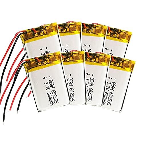 8pcs 602535 600mah 3.7v Batería Recargable De Iones De Litio De PolíMero, Adecuada para Mp3 Mp4 Dvr para AutomóVil Grabadora De Conducción Auriculares Batería De Iones De Litio