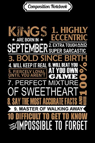 Composition Notebook: Kings Are Born In September Gift Virgo Libra Birthday Men  Journal/Notebook Blank Lined Ruled 6x9 100 Pages