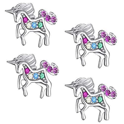 XYDZ 2 Pares (4 Piezas) Pendientes de Unicornio, Pendientes para Niña de Plata de Ley 925 con Circonita de Acero Inoxidable Aretes de Hipoalergénica para Niños Mujeres