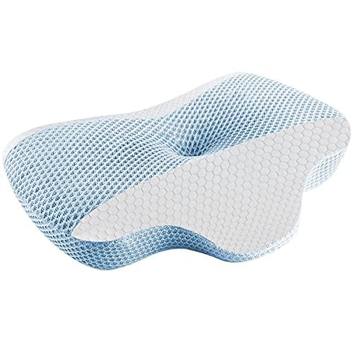 AYO 枕 低反発 まくら 中空設計 頭・肩をやさしく支える 低反発枕 仰向き 横向き 肩がラク 二つ高さ調整可能 洗えるピロー プレゼント ブルー