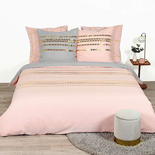 CÔTE DECO Set Housse de Couette 220x240 cm + 2 Taies d'oreiller 63x63cm Parure de lit pour 2 personnes imprimé géométrique or et rose