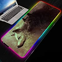 マウスパッド雪の中のオオカミRGBゲーミングマウスマット大型LedXL拡張グローイングコンピューターキーボードゲーミングPCラップトップデスク用滑り止めラバーベース付きマウスパッド-300x900mm