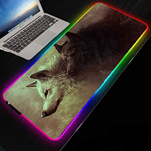 Mouse Pads Wolf in The Snow RGB Gaming Mouse Mat Large Led XL Extended Glowing Computer Keyboard Mice Pad with Non-Slip Rubber Base for Gaming PC Laptop Desk-300x900mm