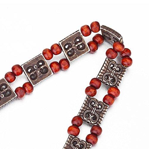 Ruban Fétiche Aztèque, Perles en Bois. Neotrims. Ceinture, attache rideau, accessoire. Décoration, costume, déguisement style ethnique. A utiliser comme ça ou à découper!