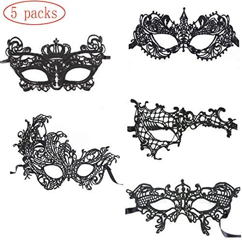 HLZDH 5 Stück Schwarz Maskerade Maske Sexy Spitze Augenmaske Venezianische Augenmaske Spitze Mask Frau Augen Maske Halloween Karneval Maskentanzabend Party (5 Stück)