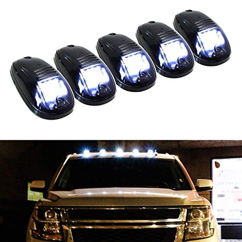 iJDMTOY 5pcs White LED Cab Roof Top Marker Running Lights Compatible With Truck...
