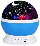 Romote Veilleuse Lampe de projecteur d'étoiles Romantique LED Veilleuse Rotation de 360° 4Ampoules LED 9Couleur de la lumière avec câble USB pour Mariage, Anniversaire, fêtes, Enfant