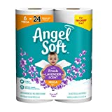 Angel Soft Toilet Paper with Fresh Lavender Scented Tube, 6 Mega Rolls = 24 Regular Rolls, 390+ 2-Ply Sheets Per Roll