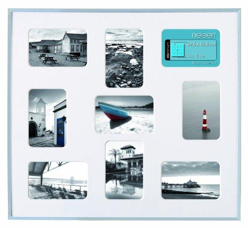 Bilderrahmen, Collage, Nielsen Pixel Gr. 49,5 x 54,5 cm, weiß, incl. Passepartout mit 9 Ausschnitten, für Fotos 10 x 15 cm