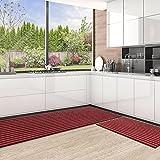 Color&Geometry Juego de Alfombrillas de Cocina Antideslizantes de 2 Piezas, alfombras de Barrera con Respaldo de Goma, Alfombra Absorbente y Lavable para Cocina (44x75cm + 44x150cm, Rojo)