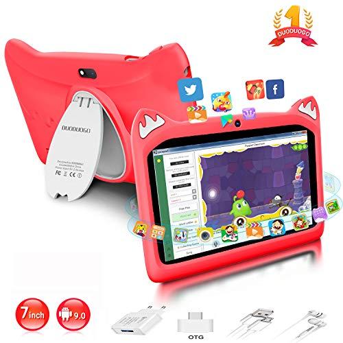Tablet para Niños con WiFi 7.0 Pulgadas 3GB RAM 32GB/128GB ROM Android 9.0 Pie Certificado por Google GMS Tablet Infantil 1.5Ghz Quad Core Batería 4000mAh Tablet PC Netflix Juegos Educativos(Rojo)