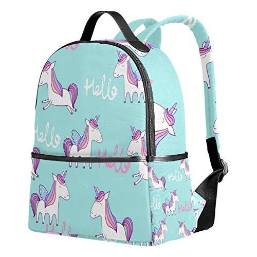 Tenboya Mochila Escolar para niñas Magic Cute Hello Unicorn Mochila de Escuela Media para Mujer