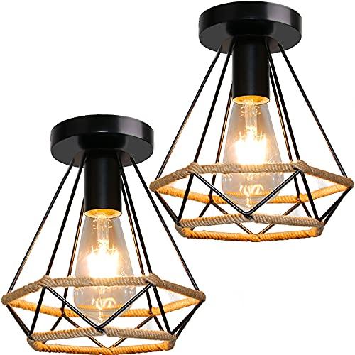 Lámpara de Techo Vintage de Hierro, TOKIUS 20CM Industrial Cuerda de Cáñamo Plafón Techo 60W E27 Iluminación de Techo Interior para Cocina Dormitorio Pasillo (2 Piezas)
