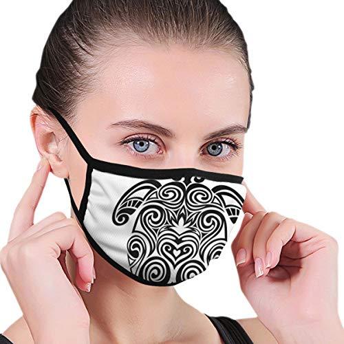 DIMAA Totenkopf-Gesichtsmaske,Anti-Staub-Maske,Monochrome Schildkröte mit blühendem Lotus und wirbelt Maori-Kulturmotive,waschbarundwiederverwendbar,fürRadfahren,Camping,Reisen,Einheitsgröße
