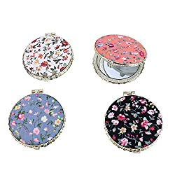 top rated Set of 4 retro flower make-up mirrors for Monrocco handbags, foldable compact travel beauty pockets … 2021