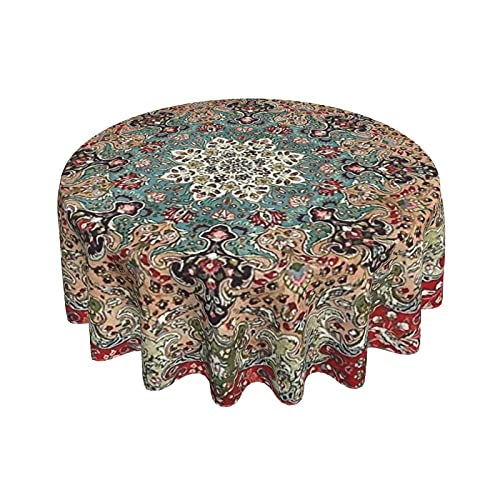 Vintage Antique Persian Round Waterproof Tablecloth 60inch Stain Resistant and Wrinkle Free Table Cloths for Kitchen Dining/Party/Wedding Indoor and Outdoor Use Washable Polyester Table Cover