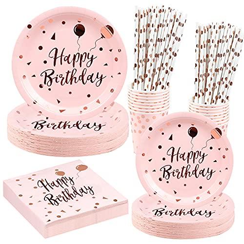 HusDow 100pz Piatti Compleanno Set Compleanno Bambina, Stoviglie Piatti di Carta Festa Paglia Coppa Bicchiere Carta Tovagliolo, 20 Ospiti