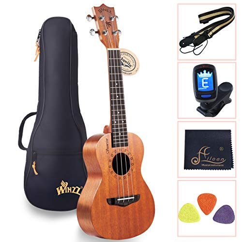 WINZZ Concert Mahogany Hawaii Ukulele for Beginner Students with Bag, Tuner, Strap, Picks, Polish Cloth, 23 Inches