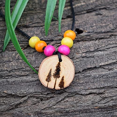WDBUN Collar Colgante Collar de árbol de Pino de Madera Charm Nature Cuentas Coloridas Collar Joyas Navidad Día de la Madre día de San Valentín cumpleaños Regalo