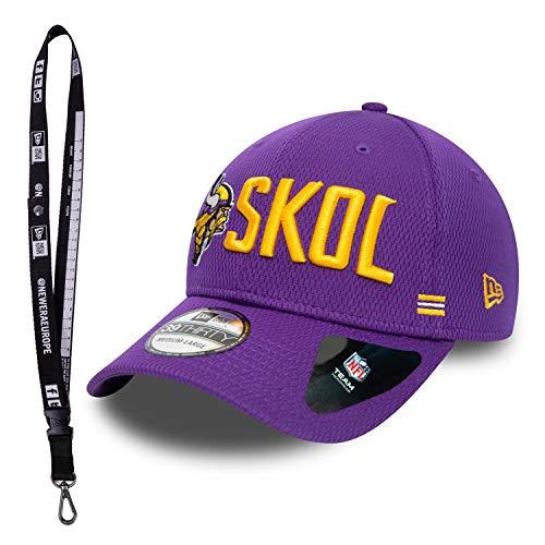New Era 3930 Caps – Caps con Flex en diferentes tamaños – Gorra de la NFL para el verdadero fan del fútbol – Incluye llavero, Minnesota Vikings., M/L