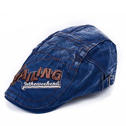 Thenice Casquette Plate Vintage Hiver Chapeau Béret Unisexe Cap (Bleu)