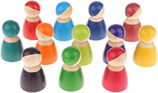 Baosity Set of 12 Miniature Rainbow Peg Dolls, Pretend Play Wooden People Figures, Decorative Toy