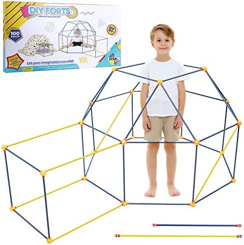 EXTSUD Kids Fort Building Kit, 90 Pieces Forts Builder Gift Build Making Kits Toys for Boys and Girls to DIY Building Castles Tunnels Tent Rocket Tower Indoor & Outdoor (90 Pieces)