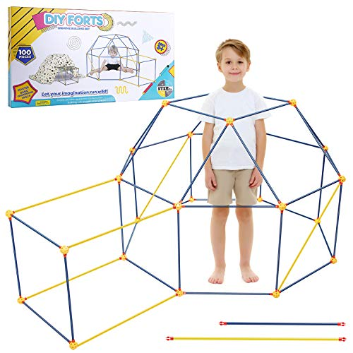 EXTSUD Kids Fort Building Kit, 100 Pcs Forts Builder Gift Build Making Kits Toys for Boys and Girls to DIY Building Castles Tunnels Tent Rocket Tower Indoor & Outdoor (100 Pieces)