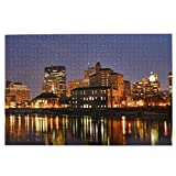 Lidanie 1000 Pieces Art Picture Wooden Jigsaw Puzzle Dayton Evening Sunset Dayton Cityscape Skyline Jigsaw Puzzles for Adults Teens