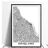 LLXHGBuenos Aires Schwarz Weiß Welt Stadtplan Poster