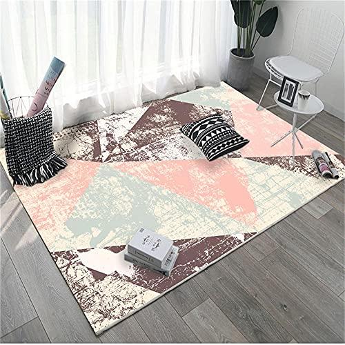 Suelo Laminado alfombras Pelo Corto Salon Malla geométrica Beige Azul marrón Rosa Alfombra Comedor 180X250cm