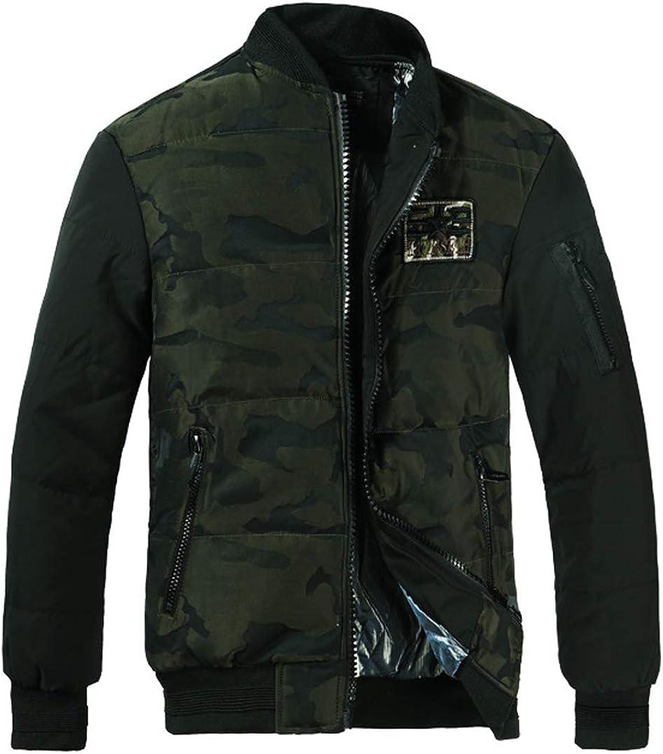 chouyatou Men's Thicken Padded Camo Print Winter Down Alternative Bomber Jacket
