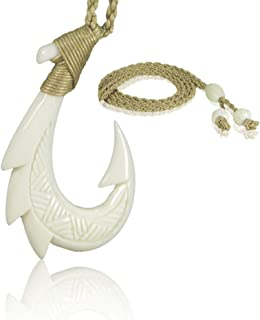 KanaKala Pacific Hawaiian Hand Carved Bone Fish Hook Necklace
