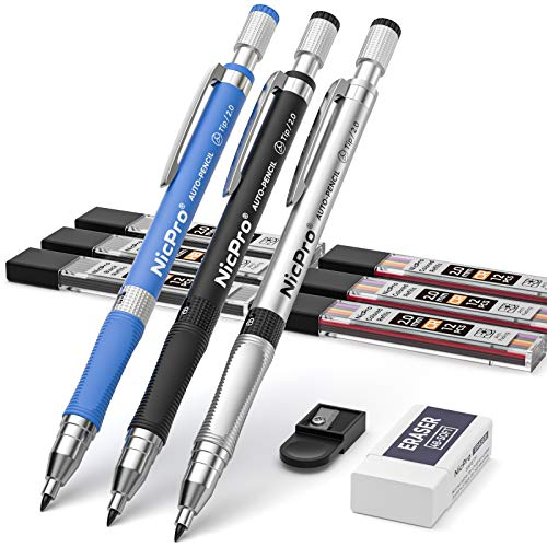 Nicpro 11 Pieces Colors 2mm Mechanical Pencil Set, 3 PCS Carpenter Drafting Pencil 2.0 mm for Art Drawing Writing Sketching Construction with 6 Tube Pre-Sharpen 2B & Color Refill, Eraser, Sharpener