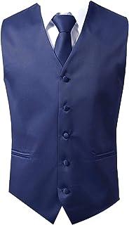Brand Q 3pc Men's Dress Vest Necktie Pocket Square Set For Suit or Tuxedo