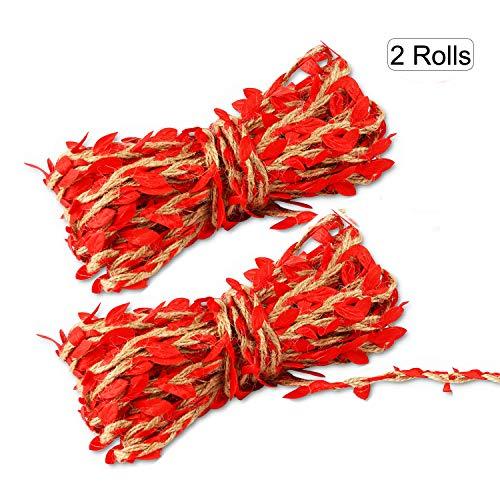 (2 Rollos) OOTSR Cuerda de cáñamo de hoja artificial, (10m / Rollo)