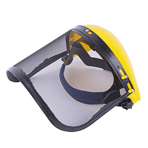 Máscara de casco de protección facial de seguridad de cara completa ajustable con visor de malla para césped de jardín Recorte Cortador de cepillo Selector forestal