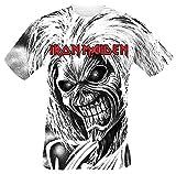 Iron Maiden Killers Allover Hombre Camiseta Blanco XL, 100% algodón, Regular