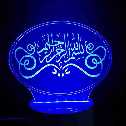 3D visueel nachtlampje geleid God Allah zeegne Arabische citaten tafellamp slaapkamer nachtkastje lamp decor